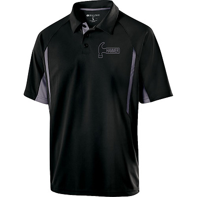 Hammer Men's Reaper Performance Polo Bowling Shirt Black Carbon Dri-Fit Comfort