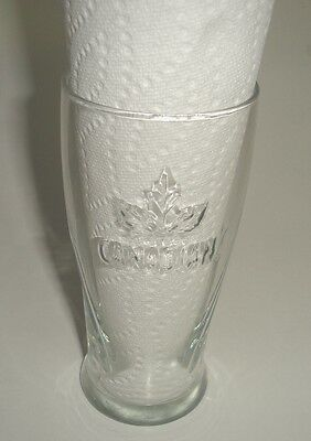 Molson Canadian Clear Beer Glass Embossed 3D Maple Leaf New