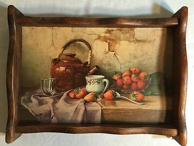 Vintage Wooden Serving Tray W/ Robert Chailloux picture Strawberries Tea Kettle