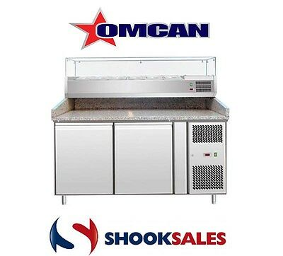 """Omcan 39592 Commercial Restaurant 59"""" Stainless Steel Granite Top Pizza Table NY"""