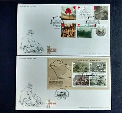 2016 The Great War 1916 set & miniature sheet First Day covers