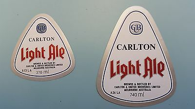 2x Carlton Light  Beer Labels