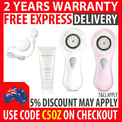 Genuine Clarisonic Mia 2 Sonic Skin Cleansing Anti Aging With Gel Pink & White