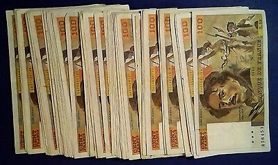 FRANCE: 50 x 100 Francs Banknotes (1980) - Fine to Extremely Fine Condition