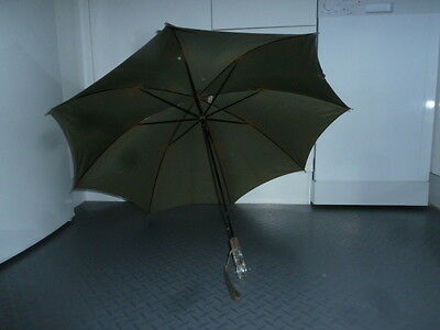 Rare Vintage Paragon S. Fox & Co Ltd Forest Green Umbrella with Lucite Handle