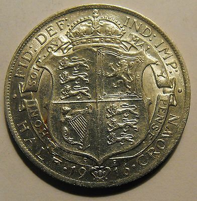 Sterling silver Half Crown 1916 George V excellent condition