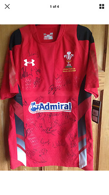 2014 Wales Rugby 6 Nation Shirt - Signed by Squad Members