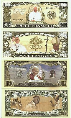 Vatican : 2 Pope Banknote set, Pope John Paul & Francis, Fantasy currency.