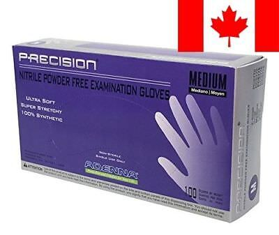Adenna Precision Nitrile Powder Free Exam Gloves, Violet, M, 100 Count