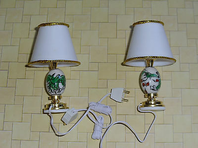 2 X DOLLS HOUSE 12v ELECTRIC TABLE LAMPS WITH DRAGON MOTIF  REPLACEABLE BULBS