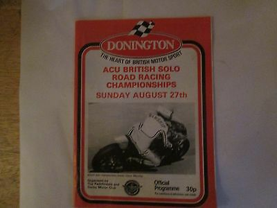 Donington Acu British Championships Sun Aug 27 1978 Official  Programme