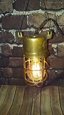 Antique Vintage Solid Brass Nautical Caged Bulk Head Ships  Light Lamp Fitting