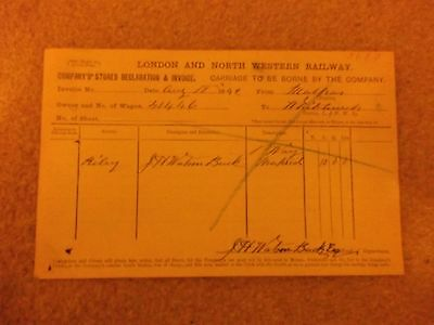 London and North Western Railway Invoice 1892