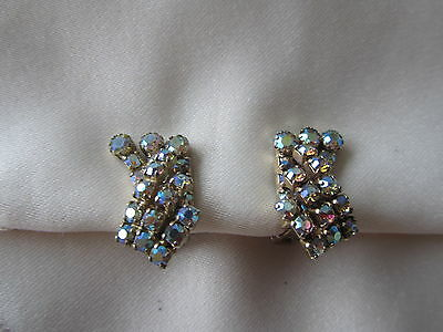 Vintage gold tone double layer Continental clip on earrings with rhinestones