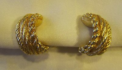 Vintage gold tone twisted Christian Dior clip on earrings
