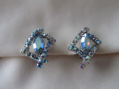 Vintage silver tone clip on earrings with pink and light blue AB rhinestones