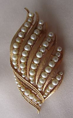 Vintage gold tone Corocraft brooch with faux pearls
