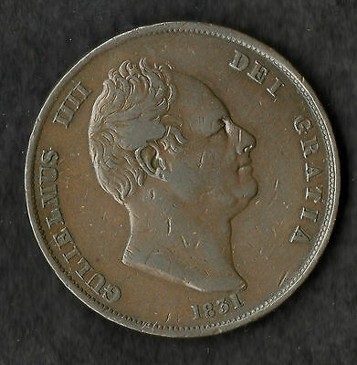 1831 William IIII Copper Penny Nice VF Scarce