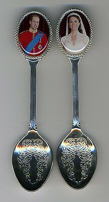 Prince William and Princess Kate 2 Silver Plated Spoons Featuring William & Kate