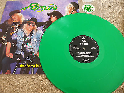 """Poison - Your,e Mama Won,t Dance - 12"""" Green Vinyl With Poster ."""