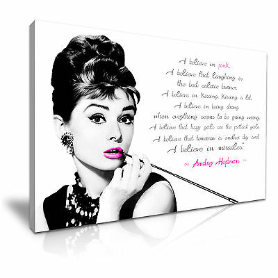 Audrey Hepburn Quote I Believe in Pink Canvas Wall Art Picture Print - More Size