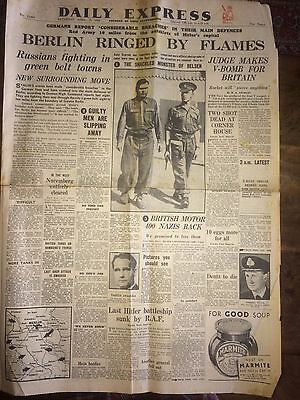 Daily Express 21 Apr 1945 Berlin Ringed By Flames WWII Belsen Monsters In Chains