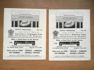 Luton T v Rotherham & Northampton 1961 Very Early League Cup Programmes