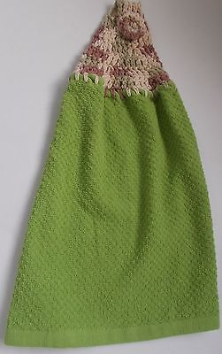 VARIGATED COTTON Yarn Crochet Top Solid GREEN Cotton Kitchen-CLOTH