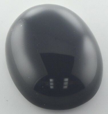 LARGE 18x13mm OVAL CABOCHON-CUT NATURAL AFRICAN JET-BLACK ONYX GEMSTONE £1 NR!