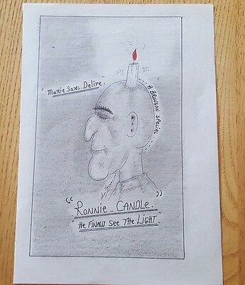 Charles Bronson Prisoner Artwork B & W Paper 15 X 21 Cms 'ronnie-Candle' Signed
