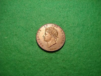 George 1V 1827 COPPER HALFPENNY a/Unc. trace lustre FREEPOST