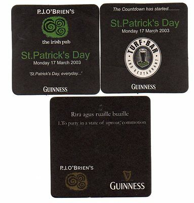 Three 2000's Guinness Mention Australia Beermats - P.J. O'Briens and Turf Bar