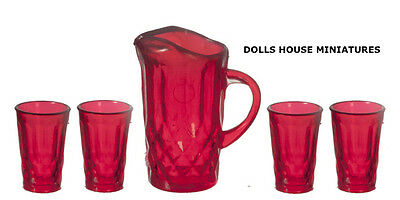 Red Pitcher & Four Glasses, Dolls House Miniatures, 1.12th Scale
