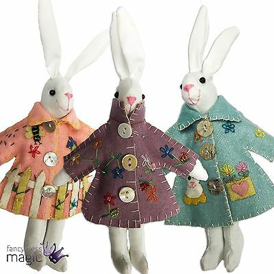 *Gisela Graham Applique Easter Bunny Rabbit In Raincoat Hanging Home Decoration*