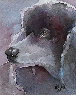 Poodle Art Print Signed by Artist Ron Krajewski Painting 8x10 Dog Black