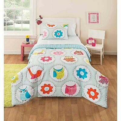 Mainstays Kids Owl Stripe Bedding Bed in a Bag, Twin