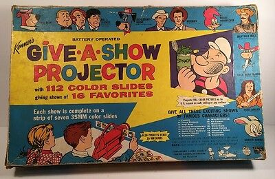 Kenner's Give-a-Show Projector In Box Slide Strips No. 501 1960 Slides Battery