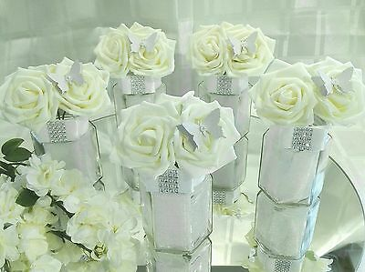 5 x White and Ivory Hexagonal Glass Wedding Centerpieces /Table Decorations.