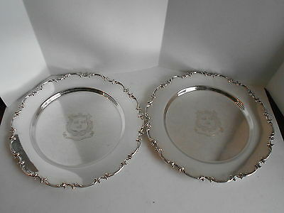 Antique 2 Sterling Silver Plates 10In. George Shiebler New York 1876 924Gm