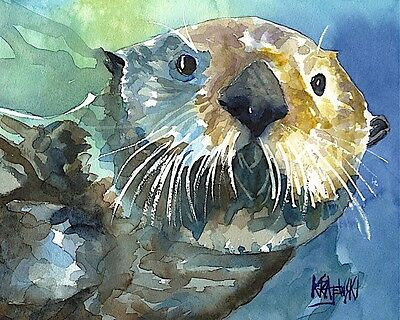 Sea Otter Art Print Signed by Artist Ron Krajewski 8x10