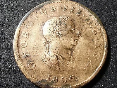 1806 Great Britain 1/2 penny coin-cleaned - -sh Canada is 1.50