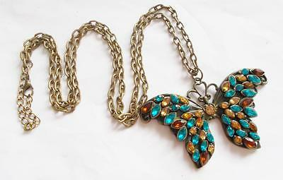 VINTAGE 1980's BRONZE TONE TURQUOISE BLUE & AMBER CRYSTAL BUTTERFLY BIG PENDANT