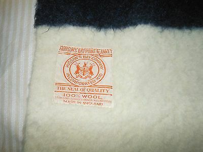 "Vintage Hudson's Bay Blanket 4 Point Striped Wool 66"" x 80"" England"