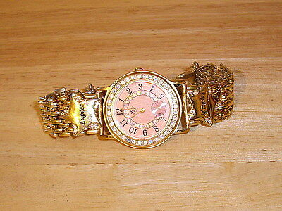 "Kirks Folly Watch ""Expect Miracles"" With AB Crystals & Pink Face"