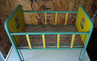 Vintage J Chein & Co 1950's Tin Toy Doll Furniture bed crib