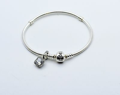 Pandora Sterling Silver 925 Bracelet 590702 with Dangle Charm Pre-Owned