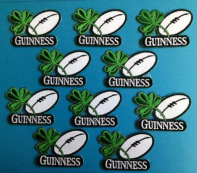 10 Lot Guinness Irish Beer Clover Rugby Ball Iron On Hat Jacket Patches Crests