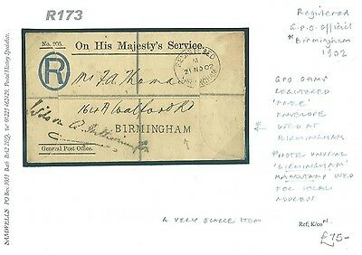 R173 1902 GB Birmingham Handstamp Registered GPO Official/Local