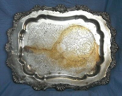 OLD Silver plated heavy & ornate footed platter Unknown Mark No. 72 - needs TLC