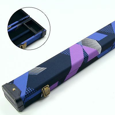 2 Cue 80s BLUE & BLACK 1PC Pool Snooker Cue Case - Holds 2 Cues